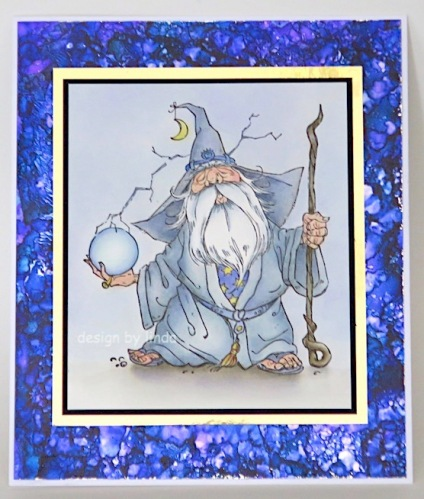 wizard card in grey and purple