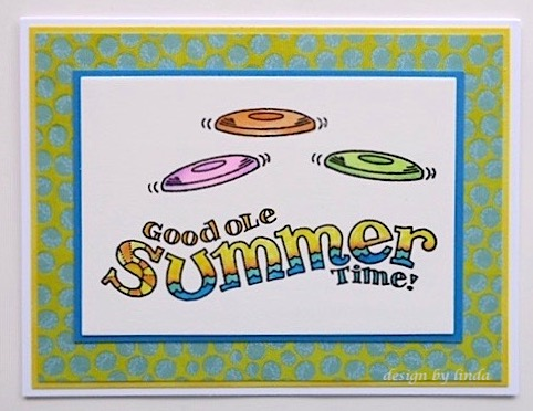 card with colourful frisbees