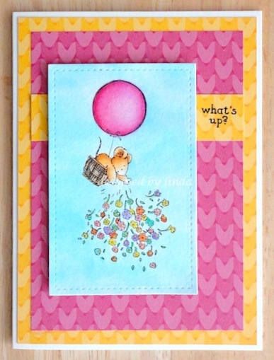 card with mouse in hot air balloon masked throwing flowers