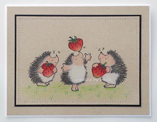 hedgies on kraft card with strawberries copyright linda snailzpace.com
