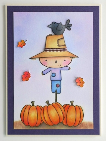 scarecrow and pumpkin card copyright linda snailzpace.com