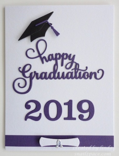 graduation 2019 card in white and purple copyright linda snailzpace.com