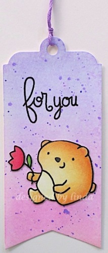 paper smooches bear bookmark in pink and purple copyright linda snailzpace.com