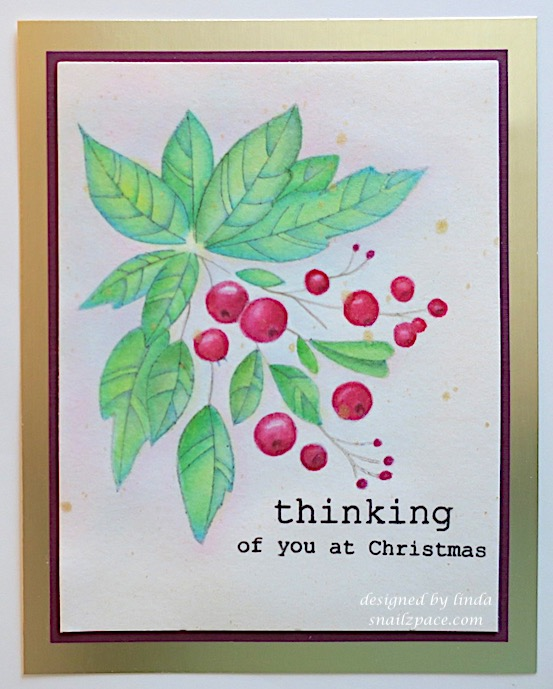thinking of you at christmas greenery card copyright linda snailzpace.com