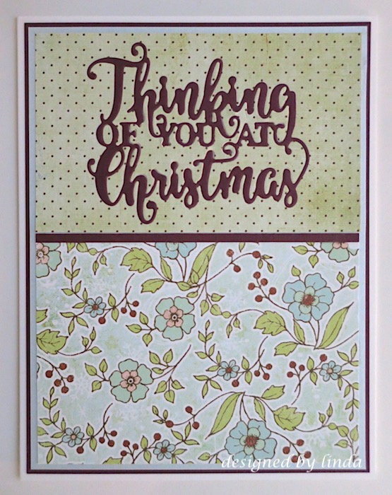 thinking of you at christmas die cut sentiment floral paper copyright linda snailzpace.com