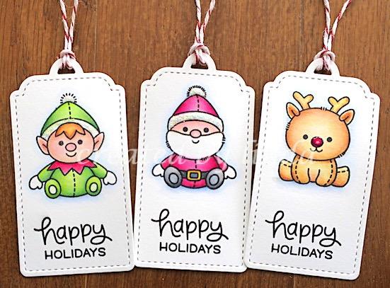 santa, elf and rudolph tags