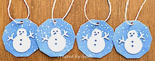 4 snowman tags
