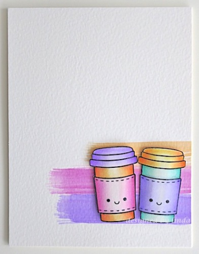 colour coffee cups on card copyright linda snailzpace.com