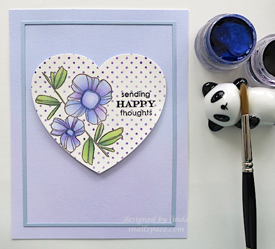 purple and blue altenew floral card copyright linda snailzpace.com