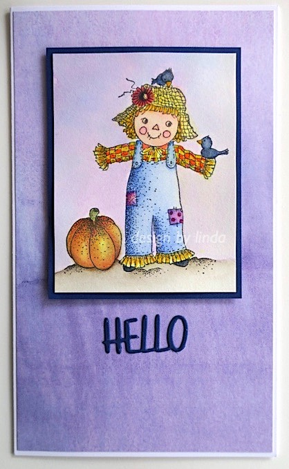 fall colours card featuring cute scarecrow image