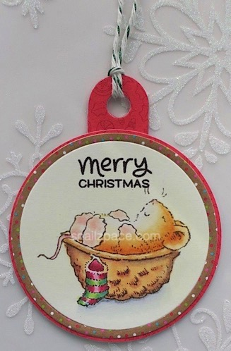 round Christmas mouse tag copyright linda snailzpace.com