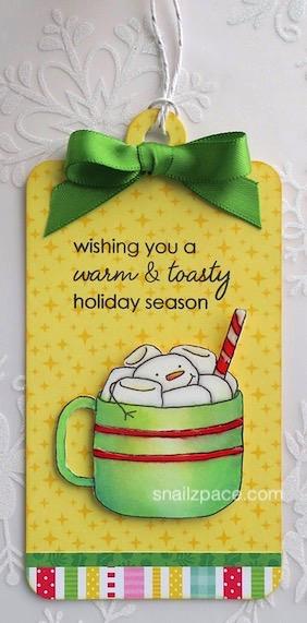 marshmallow mug Christmas tag copyright Linda snailzpace.com