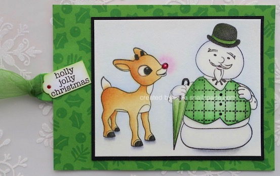 burl ives snowman and Rudolph tag copyright linda snailzpace.com