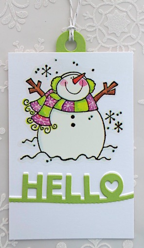 snowman tag in green and violet copyright linda snailzpace.com