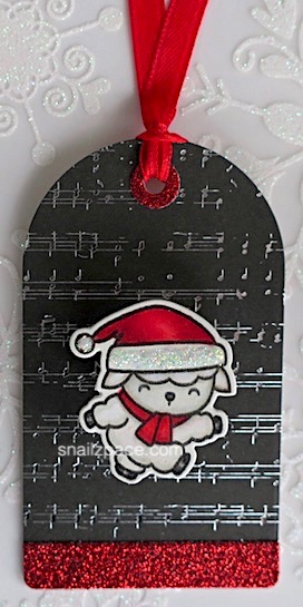 mama elephant Lamb on musical background paper tag copyright linda snailzpace.com