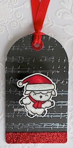 mama elephant Lamb on musical background paper tag copyright linda snailzpace.com