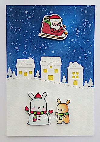 santa and snow bunnies card 👮♀️ right Linda snailzpace.comy