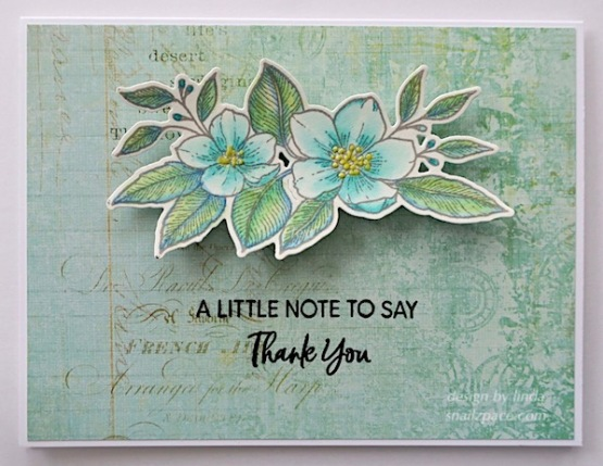 hand painted floral thank you cards; one pink and one blue using waffle flower stamps
