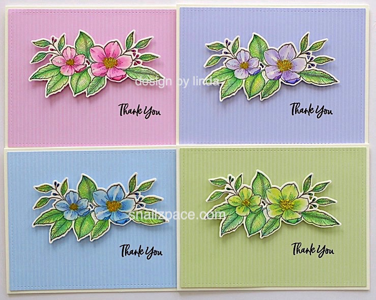 set of four floral thank you cards copyright linda snailzpace.com