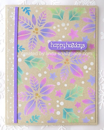 pink and purple poinsettia Christmas card on Kraft cardstock